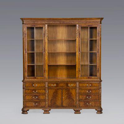 33883LED - George II Bookcase, Swirl, with Lighting EM - 1
