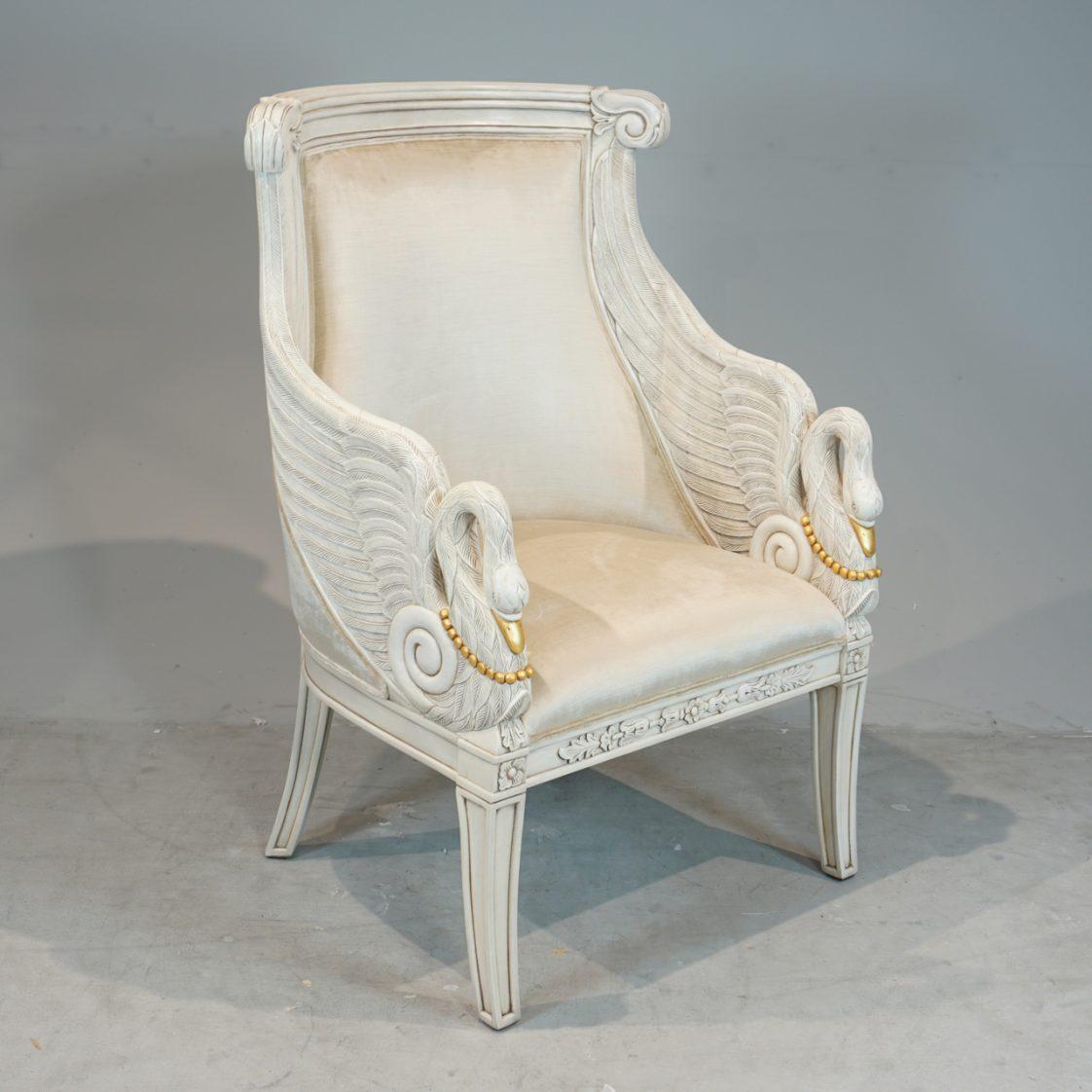 Heavy Carved Swan Chair Jansen Furniture
