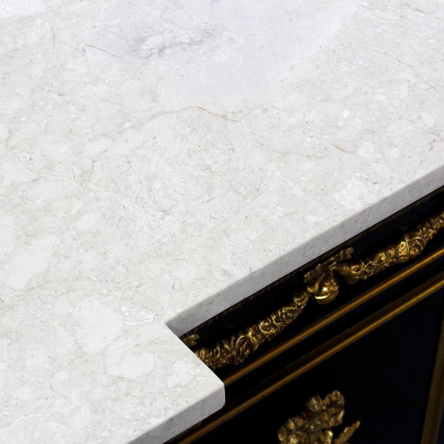 34842---Regency-Sideboard,-EBN-+-FGILT-+-Cream-Marble,-(4)